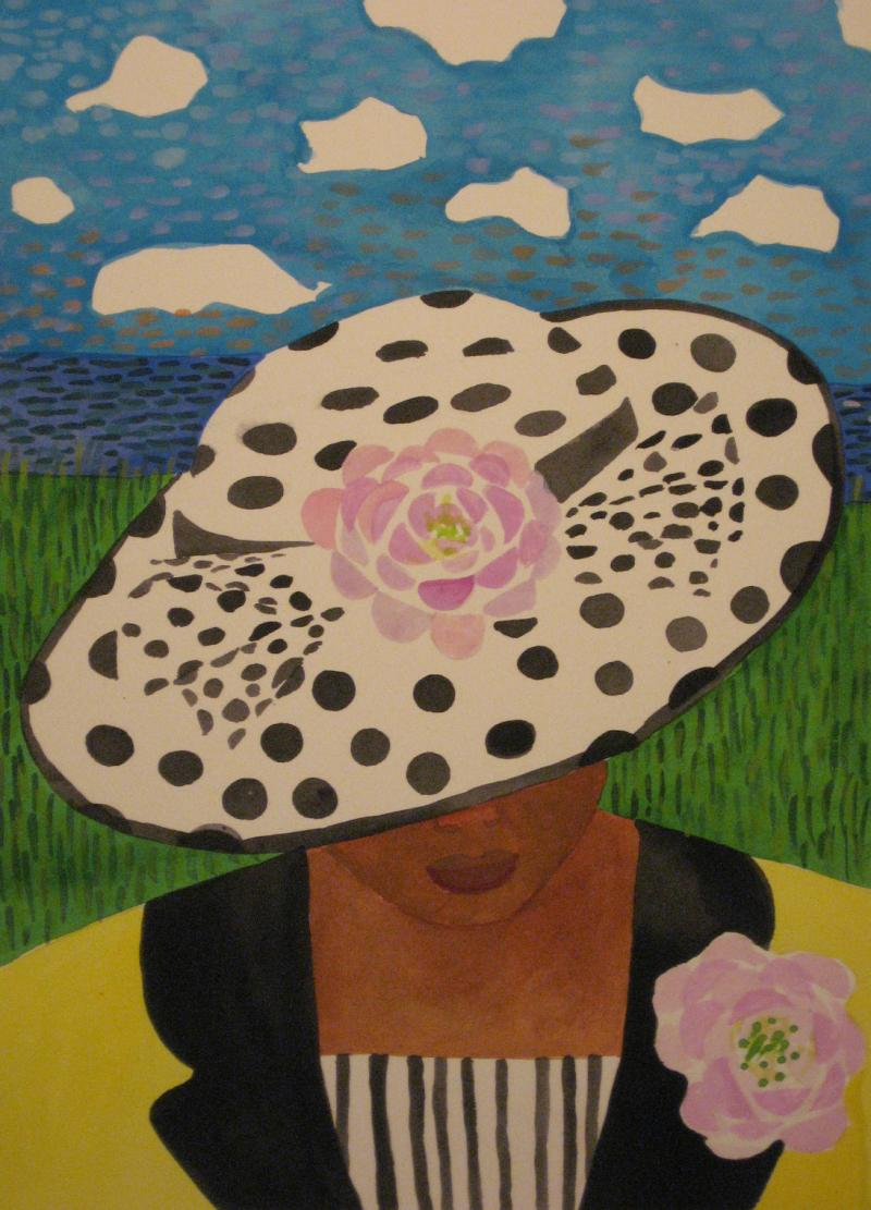 Woman in Black and White Hat